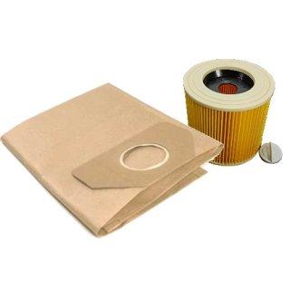 - 10 Filtertueten + 1 Filter im SET passend für Kärcher 6.959-130.0 +  6.414-552.0 -  WD2, WD3, MV2, MV3, A2054, reißfeste Filterbeutel AK042