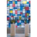 bunte Fensterfolie Mondriaan - Glasdekorfolie...